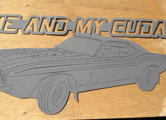 Plymouth Barracuda custom metal sign powder coat silver hammertone