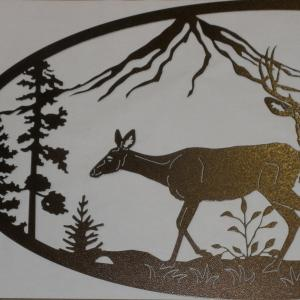 Copper Vein powder coat deer nature scene mountains